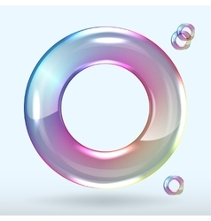 Soap bubble on grey background clear vector