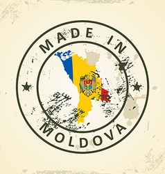 Stamp with map flag of moldova vector