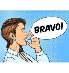 Woman shouts with hand pop art style vector