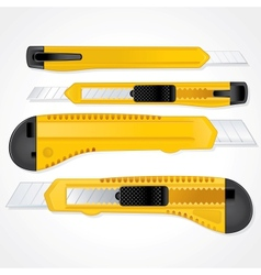Yellow plastic office paper knifes detailed image vector