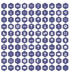 100 stadium icons hexagon purple vector