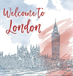 Hand drawn ink line sketch of london watercolor vector