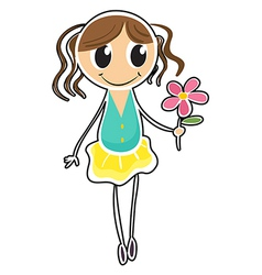A young girl holding a flower vector image