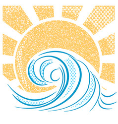 Vintage sea waves and sun of sea landscape vector