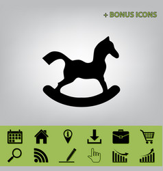 horse toy sign  black icon at gray vector image