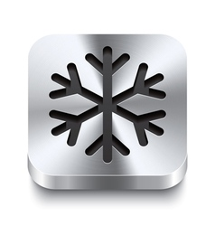 Square metal button perspektive - snowflake icon vector
