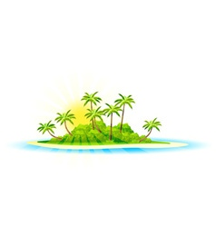 Background with Tropical Island and Palm Trees vector image