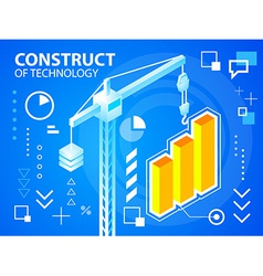 Bright construct crine and bar chart on blue vector