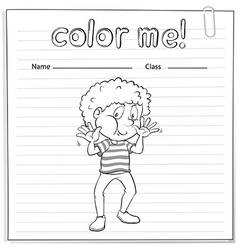 Coloring worksheet with a boy vector