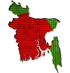 Bangladesh map with flag inside vector