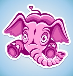 Cartoon pink elephant vector