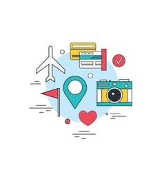 Travel tourism technology background online ticket vector