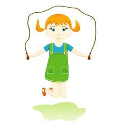 Little girl with red pigtails skipping rope vector