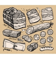 Meat market hand-drawn sketches of food vector