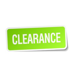 Clearance green square sticker on white background vector