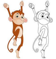 Animal outline for funny monkey vector