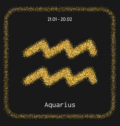 aquarius icon zodiac sign in gold glitter vector image
