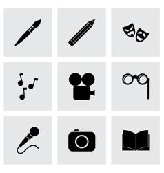 black art icon set vector image vector image