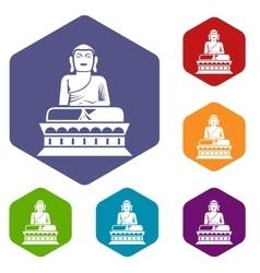 Buddha statue icons set vector