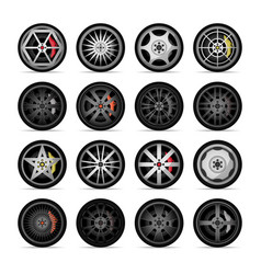 car titanium rim icon collection vector image vector image