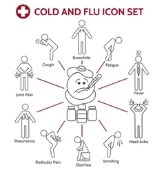 Cold and flu icons vector image