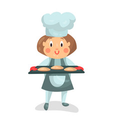 Cute cartoon little girl chef character holding a vector