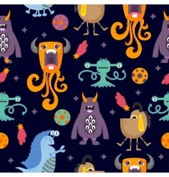 Cute funny cartoon monsters seamless pattern vector