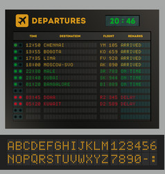 Digital colorful airport board template vector