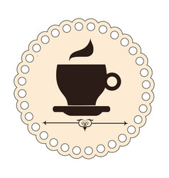 Elegant border with brown silhouette coffee cup vector