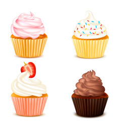 Four colorful cupcakes isolated set vector