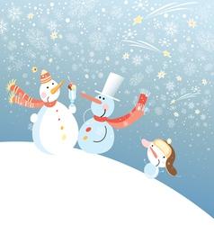 funny snowmen vector image vector image