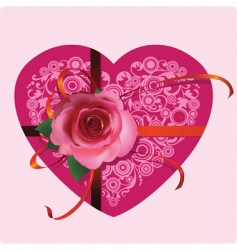 Heart with a beautiful rose vector