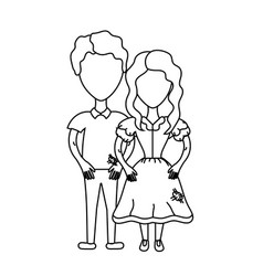 Line cute brazilian couple with hairstyle and vector
