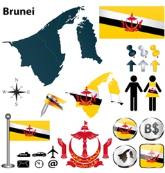 Map of Brunei vector image vector image