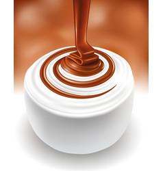 milk swirl with hot chocolate flow vector image vector image