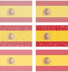 Mosaic spain flag set vector