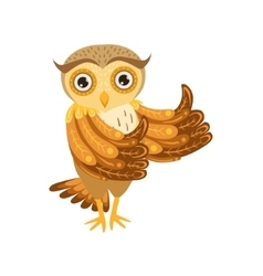 Owl showing thumbs up cute cartoon character emoji vector