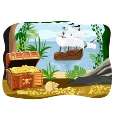 pirate ship visible from a cave vector image