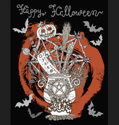Poster with halloween traditional symbols vector