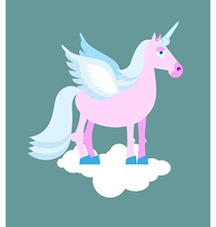 Purple unicorn with blue mane on cloud mythical vector