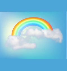 Rainbow in the sky with a cloud vector