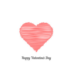 red scribble heart like happy valentine day vector image