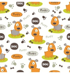 Seamless pattern with dog 4 vector image