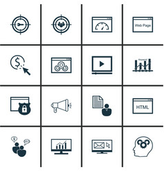 Set of 16 seo icons includes ppc report vector