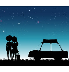Silhouette couple at night time vector