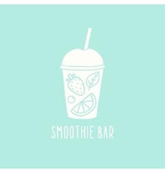 Smoothie bar logotype hand drawn cup to go vector image vector image