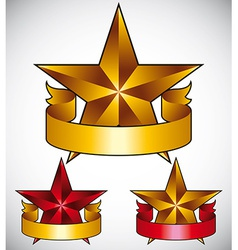 Star label with blank banner vector