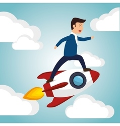 startup launch man business design vector image