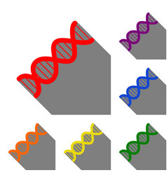 The dna sign set of red orange yellow green vector