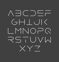 Thin line style linear uppercase modern font vector